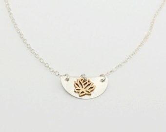Silver and gold lotus necklace
