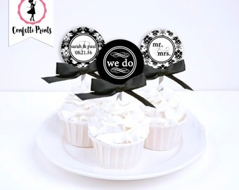 Wedding Cupcake Toppers | Wedding Cupcake Picks | Wedding Cupcake Decoration | Bridal Shower | Engagement Party - WE DO Printable