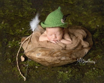 Robin Hood Felted Hat or Peter Pan Hat  for newborn, newborn photo prop, infant photography