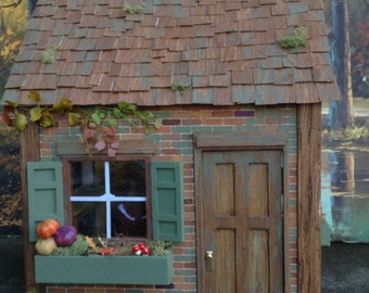 """Dollhouse miniature 'Toad's Cottage' 1"""" scale storybook dollhouse Nature Animal Toad frog fishing fall autumn cabin frozen wind in willow"""