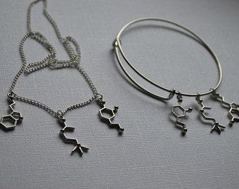 Biolojewelry -  Neurotransmitter Dopamine Acetylcholein Serotonin Molecule Bangle Bracelet and Necklace Set