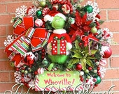 MADE To ORDER- RESERVED for Lois- Grinch Wreath, Large Pre-lit Welcome to Whoville Grinch Christmas Wreath, Peppermint, Candy