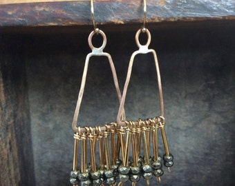 nazca earrings // brass frame and pyrite fringe earrings