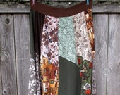 Plus Size Skirt - Boho Maxi - Strapless Sundress - Gypsy Clothing - Hippie - Upcycled - 2X 3X - Earth Tones - Eco Friendly - Refashioned