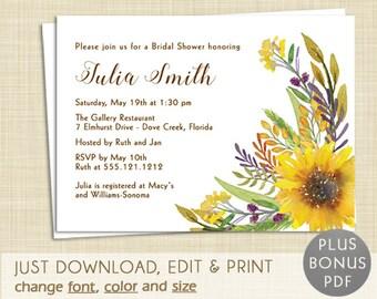 Autumn Fall Bridal Shower Invitation - EDITABLE PDF - Instant Download -  Printable - Watercolor Sunflower