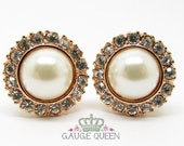 "Rose Gold Pearl Plugs / Gauges. 4g / 5mm, 2g / 6.5mm, 0g / 8mm, 00g / 10mm, 1/2"" / 12.5mm by Gauge Queen on Etsy"