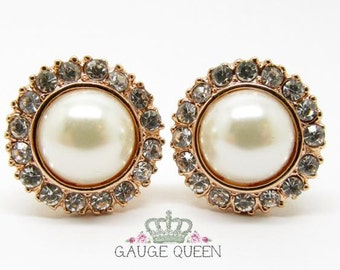 "Rose Gold Pearl Plugs / Gauges. 4g / 5mm, 2g / 6.5mm, 0g / 8mm, 00g / 10mm, 1/2"" / 12.5mm"