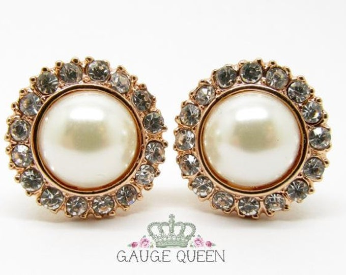 "Featured listing image: Rose Gold Pearl Plugs / Gauges. 4g / 5mm, 2g / 6.5mm, 0g / 8mm, 00g / 10mm, 1/2"" / 12.5mm by Gauge Queen on Etsy"