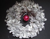 Rag Wreath Gray Flannel With Red Ornament Vintage Christmas