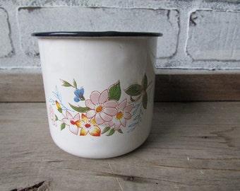 Vintage Enamel Mug With Flowers