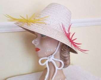 Lovely Vintage 1950s 50s Straw Summer Sun Hat with Celluloid Plastic Flowers -French Riviera-Dolce Vita-VLV-Pool Party-Pinup-Bombshell-Vixen