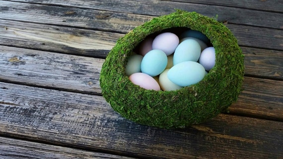 Easter Centerpiece, Large Moss Covered Easter Egg, Easter Table Decoraction