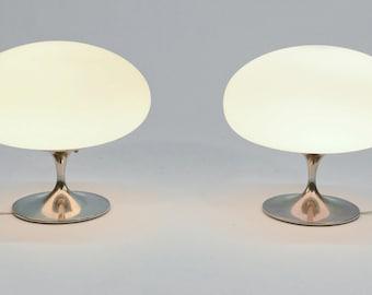 Pair of Chrome Tulip Lamps by Laurel