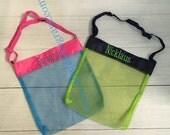 Monogram Shell Bag, Monogram Beach bag, Monogram Sand Toy bag, Monogram Gift, Monogram Beach party