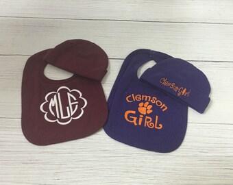 Girls Monogrammed Bib, Maroon Bib, Purple Bib, Gamecock Baby Gift, Clemson baby Gift