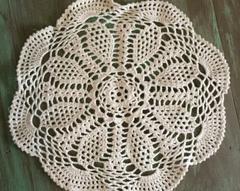 Crocheted Doily / Vintage Cotton Round Off White Doily for Holidays, Table Setting, Display, Gift Giving