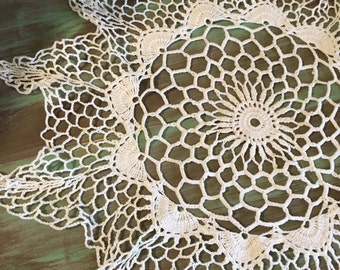 Crocheted Doily / Vintage Cotton Doily Round Off White for Holidays, Table Setting, Display, Gift Giving