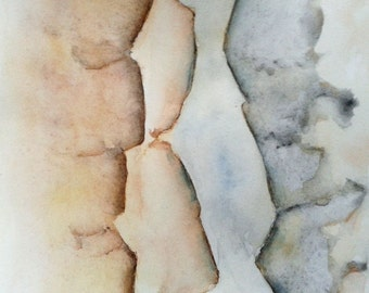 "Canyon 1. Watercolor painting, original grey, earth tones, pastel blue Minimal contemporary accent artwork 5""x 5"""