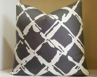 Grey/Charcoal brown print pillow cover - Lattice Print Pillow Cover - Select size during checkout