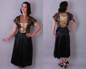 1940s Satin Evening Dress |  Vintage 40s Gold and Black Dress | small medium
