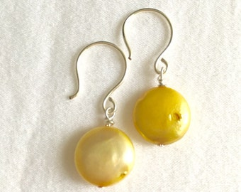 Yellow Freshwater Pearl Earrings // Yellow Pearl Drop Earrings // Coin Pearl Earrings // Yellow Coin Pearls // Pale Yellow Pearls // Sunny