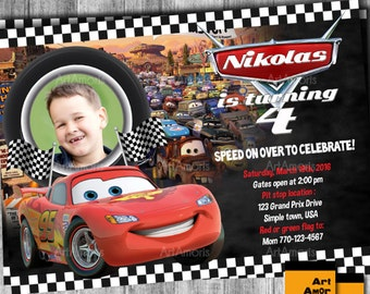 Cars Birthday Invitations, Cars Invitation, Lightening McQueen Invitation, Lightening McQueen Birthday Invitation, Cars Invites R-45