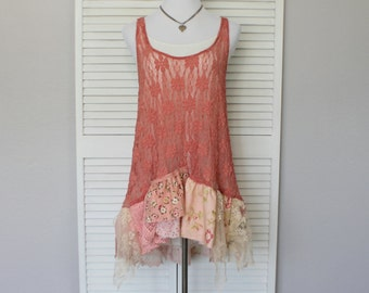 Shabby Lace  Tank Top Hand Dyed Sweet Edgy Clothing / Mori Girl Top / French Country Clothes / Women's Fashion / Reloved Clothing Co