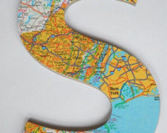 Handmade map letters- Any single letter