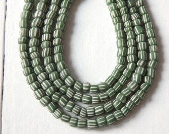 "Indonesian handmade glass beads - GREEN and WHITE, 24"" strand of striped green glass beads, 4-5mm glass beads, ethnic, Boho jewelry supplies"