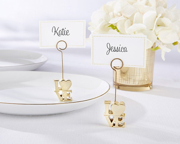 Wedding place card holders gold love name card table card for Place settings name card holders
