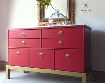 SAMPLES Red Hollywood Regency Dresser / Buffet / Media Console