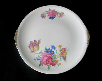 4 Paden City Pottery Rosalee Dinner Plates with Floral Spray Design and Gold Trim Vintage 1940s Set of 4
