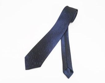 1950s-60s Mod Blue & Black Skinny Tie Mad Men Era Narrow Mid Century Modern Sharkskin Men's Vintage Necktie by Wembley