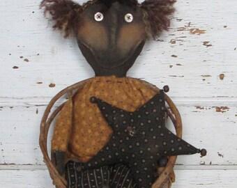 Primitive Grungy Folk Art~ Tabitha W/her Star Americana Doll Set ~HAFAIR