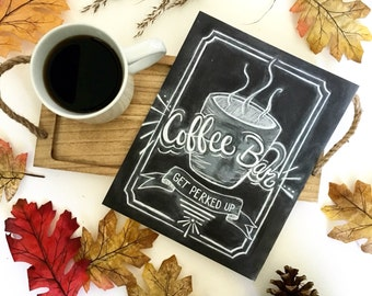 """Coffee art digital download. """"Get Perked Up""""  8x10""""  Art Print. Coffee bar - coffee illustration - Chalkboard Print - kitchen art"""