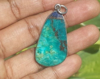 Vintage Sterling Native American Chrysocolla and Azurite Pendant