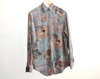 VERSACES style 90s baroque color block FLORAL striped oversize button down shirt