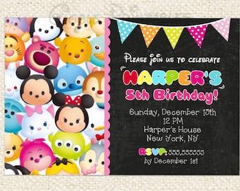 Tsum Tsum Birthday Invitation, Tsum Tsum Invitations, Minnie Mouse Invitations