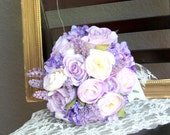 Purple Wedding Bouquet, Fabric Bridal Bouquet, Purple Ivory Lilac Flower Bouquet, Lace Ribbon Garden Flowers - READY to Ship