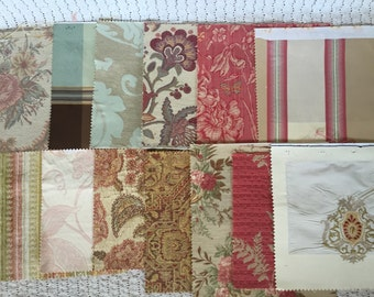Lot of 13 Large Vintage Fabric Samples Decorative Upholstery Swatches