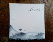 Torn Watercolor Paper Place Card, Wedding, Calligraphy