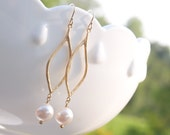 White Pearl Earrings in Gold - Gold Marquise Earrings - Gold and White Swarovski Earrings - Wedding Bridesmaid Pearl Earrings Jewelry