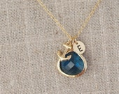 Gold Anchor Initial Necklace with Navy Stone - Personalized Intial Monogram Anchor Charm Necklace - Bridesmaid Nautical Sailor Navy Mom Gift