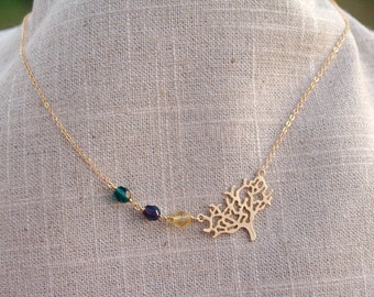 Family Tree Birthstone Necklace in Gold - Sideways Tree - Personalized Birthstones with Modern Tree Wire Wrapped Gold Necklace - Jewelry
