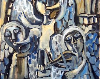 Angel Band, Musicians. Original Oil on Canvas, 18x24 inch Painting, Contemporary Romanesque Modern Artwork, Signed Original Fine Art