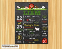 First Birthday Chalkboard Poster Farm Theme | Farm First Birthday | Customized 1st Birthday Milestone Sign | Photography Prop | Printable