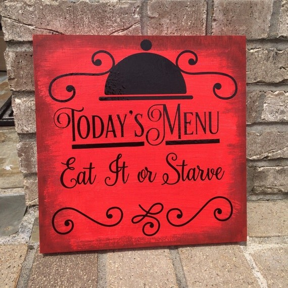 Red Kitchen Wall Sign Eat It Or Starve By AlyChrisBoutique
