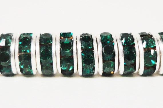 Rondelle Rhinestone Beads 6mm Emerald Green Silver Plated Metal Acrylic Rhinestone Crystal Spacer Beads for Jewelry Making 50 Loose Beads