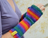 Long knit arm warmers, wool mittens, rainbow fingerless gloves