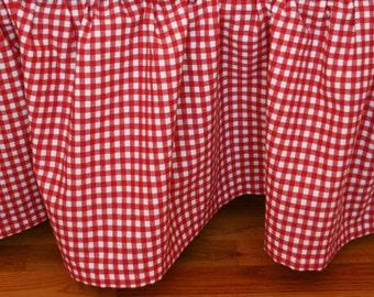 Organic Crib Skirt, Gingham Crib Skirt, Red Crib Skirt, Crib Skirt, Gingham, Plaid, Red, White